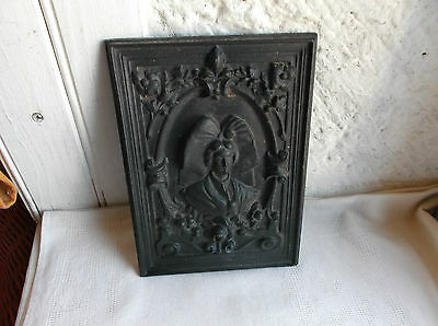 Cast iron solid lady detailed wall plaque decorative item vintage marked
