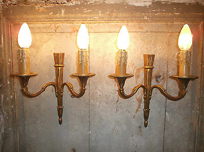 French a pair of vintage patina bronze wall light sconces awesome detail