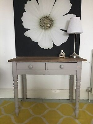 Antique Vintage Victorian Pine Console Hall Side Table Desk with 2 Drawers