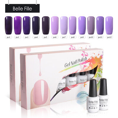 BELLE FILLE Purple 12Pcs/Set UV Gel Soak Off Nail Art Polish Kit Base Top Coats