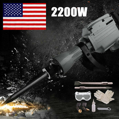 2200W Demolition Jack Hammer Electric Concrete Breaker Chisel Punch Bit Set