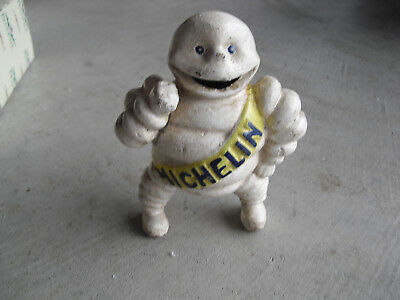 "Vintage Cast Iron Michelin Man Figural Bank 6"" Tall"