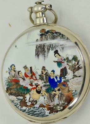 UNIQUE Qing Dynasty Jacot,LeLocle Chinese Duplex silver&enamel pocket watch 1850