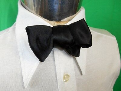 Vintage Black Polyester Adjustable Butterfly Bow Tie Tuxedo Prom Formal Small