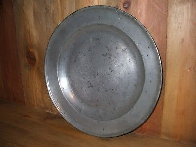 "Richard King 18th Century English Pewter Charger 15"" w/makers Hallmarks London"