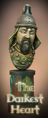 Hand Painted Historical BUST of Genghis Khan Mongolian Warlord Oil painted RARE