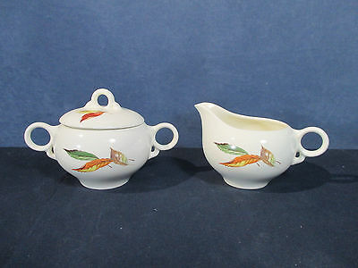 Creamer Sugar Bowl Vintage Universal Pottery Princess China Autumn Leaf Set of 2