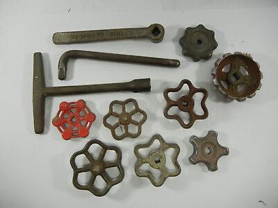 vintage lot of 11 water / gas valve handles Steampunk Industrial Art repurpose