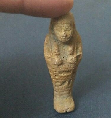 Rare Ancient Egyptian faience USHABTI F amulet late Period (672–332 BC)
