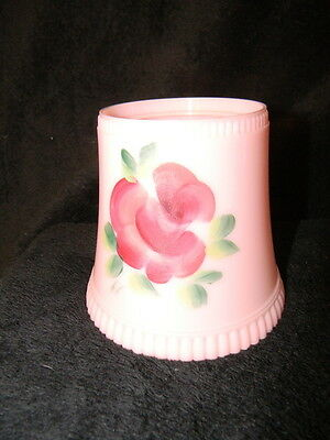 """Vintage Shabby Chic Pink Hand Painted Floral 4"""" Lamp Light Shade Plastic Clip On"""