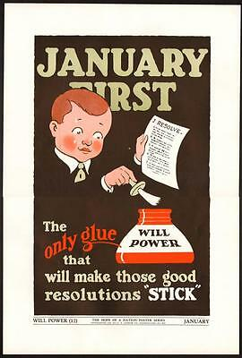 VTG Rare 1937 WPA Hope Of A Nation JANUARY New Years Resolution GLUE Art POSTER
