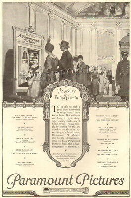 VTG 1920's Paramount Pictures MOVIE THEATER Mother Father Daughter Family Art Ad