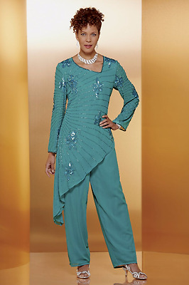 Ashro Lily Beaded Cruise Dress Teal Green Pant Suit 6 10 14 16 20W 22W 24W 26W