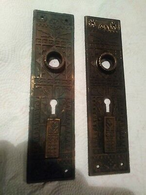 two brass antique east lake door back plates with double skeleton key holes