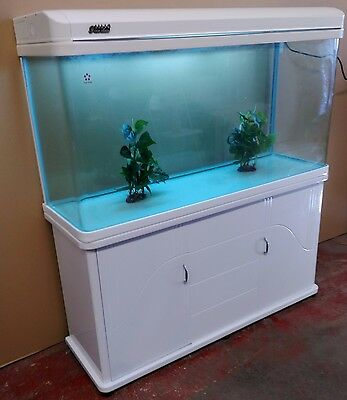 4ft Curved Glass Fish Tank, Cabinet and hood with lights Brand new Complete Set
