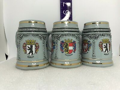 3 VIntage Stoneware German Steins Made In West Germany, Good Used Condition.
