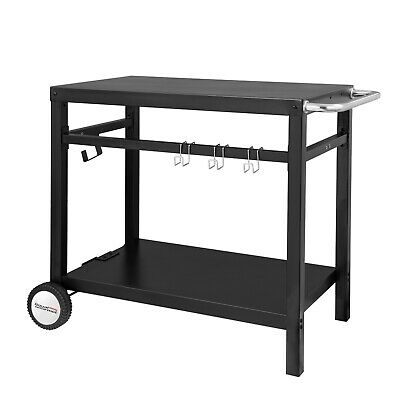 Royal Gourmet BBQ Work Table Outdoor Kitchen Prep Cart Trolley Storage Black