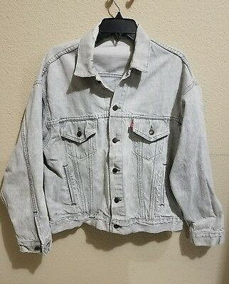 1980s VINTAGE LEVIS JACKET 70507 MENS LARGE MADE IN USA STONE WASH GRAY HVY WEAR