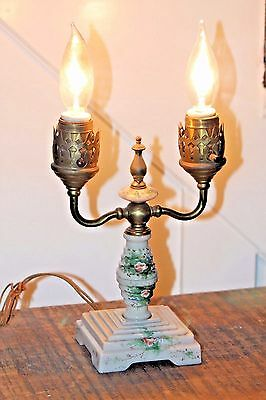 Very old, antique custard glass candelabra lamp, hand painted.  Original cord
