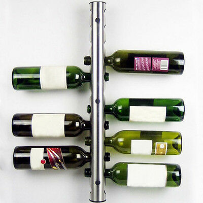8/12 Hole Bottle Wall Mounted Home Bar Wine Rack Holder Stand Stainless Steel A+