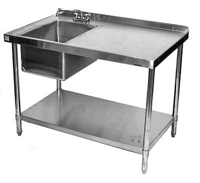 24x60 All Stainless Steel Kitchen Table with Prep Sink on Left