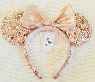 Authentic Disneyland DLR Disney Rose Gold Minnie Ears Headband BNWT