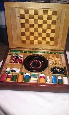 Vintage Wood Case Bakelite Gambling Roulette Chess Catalin Chips Dice M. Donavon