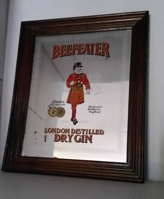 Beefeater London Dry Gin bar mirror framed & ready to hang