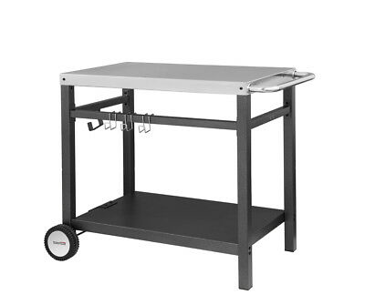 "Royal Gourmet BBQ Work Table Kitchen Outdoor Prep Cart Storage Silver 34"" x 20"""