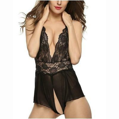 Ladies Sexy Lingerie Sheer Crutchless Mesh Teddies Pajama Nightwear Corset Black