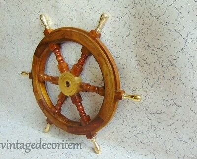 "24"" Wooden Decorative Hanging Pirate Ship Wheel Nautical Brass boat Steering"