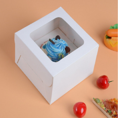 Food Grade Paper Cupcake Box With Window&Hanble Paperboard Inserts Muffin Cases