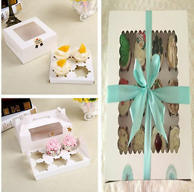 4/6/12 Holes White Paper Muffins Cupcake Box Wedding Favors Packing Gift Holder