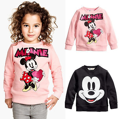Kids Girls Boys Mickey Minnie Mouse Long Sleeve Sweatshirt T-shirts Tops 2-7Yrs