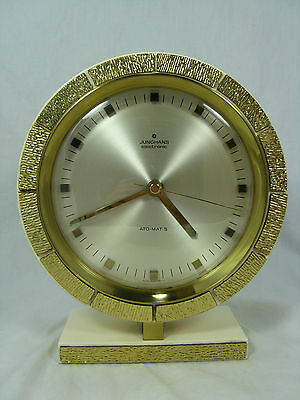 Very unusual 70´s design Junghans Atomat table clock Tisch Uhr working condition