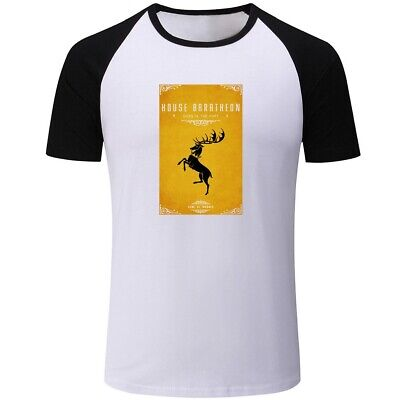 Mens Boys Casual T-Shirts Print Game of Thrones House Baratheon Tops Tee Shirts