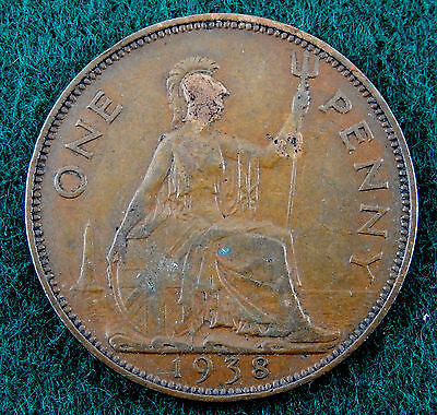 1938 UK Great Britain One Penny Coin  KM#845   SB3439