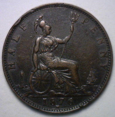 1876 H Bronze Small Date  Half Pence UK Half Penny Britain Coin XF