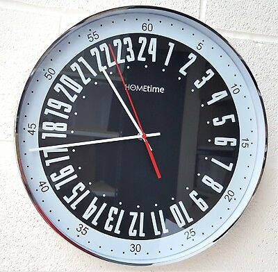 Large Chrome Plated Cased Wall Clock Black Bold Classic 40cm Dial Quartz Sale