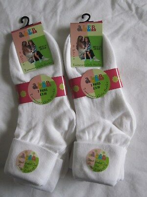 Bnwt- 6 Girls White Aler Turnover Socks - Size 12.5-3.5 - Free Post To Uk Only