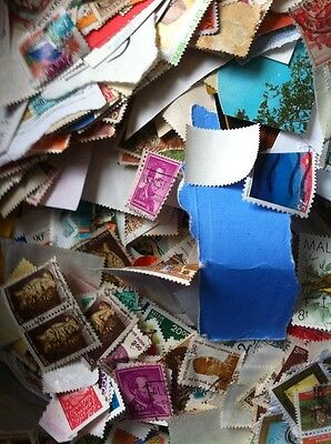 100 World Stamps- All Different Good Age/Country Mix off paper