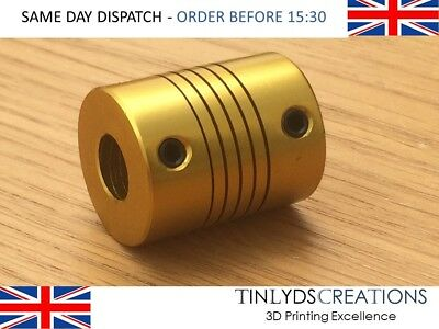 Flexible Shaft Coupling Coupler 6.35x5mm shaft - Anodised Gold 3D Printer Part