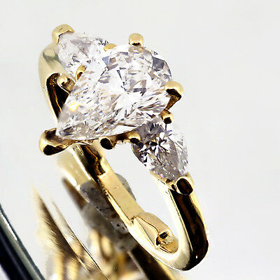 1.46 Ct E Vs2 Pear Shape Three stone Engagement Ring 14k Yellow Gold