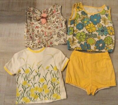 Vintage 1960s Girls size 8-10 Lot Summer Tops + shorts Sears Kamp Togs Fun Print
