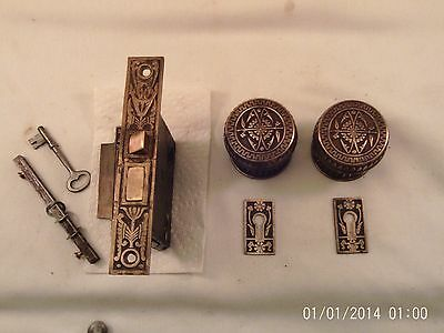 Antique Branford Cast Brass Bronze Door Knob Set fancy Mortise Lock & Key  #733