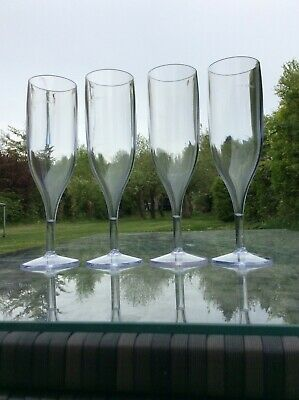 Plastic Champagne Flute CE Marked Crystal Clear x 4 Top Quality Reusable Flute