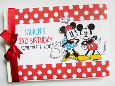 Personalised Mickey And Minnie Vintage Girl /boy Birthday Guest Book -Any Design
