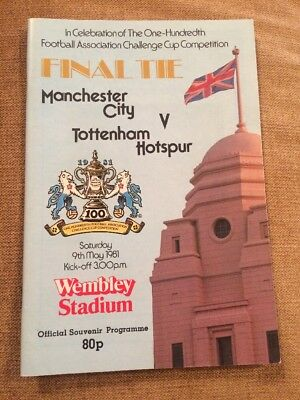 FA Cup Final Manchester City v Tottenham Hotspur Football Programme 9th May 1981