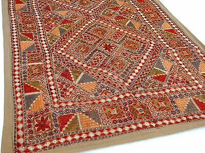 Indian Antique Kutch Mirror Work Wall Decor Hanging Hand Embroidered Tapestry