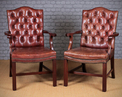 Pair of Large Georgian Style Leather Armchairs.